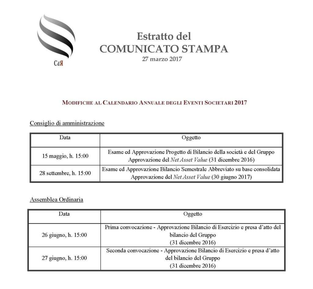 CDR - Calendario Finanziario 2017